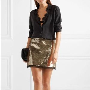 Rachel Zoe gold sequined Fin skirt